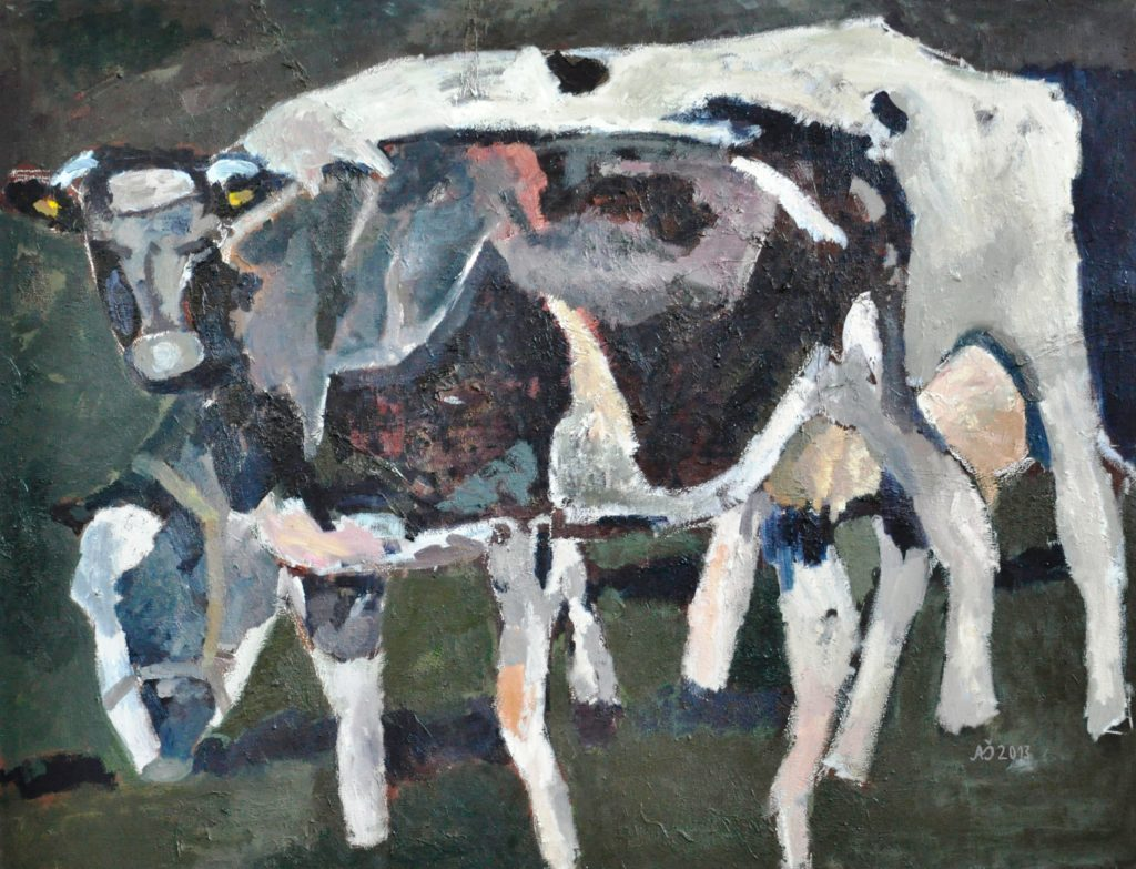 Karvės Dr, al 130 x 170 , 2013 - The cows, canvas, oil, 130 X 170, 2013